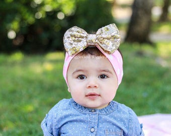 Pink and gold baby headband, infant head wraps, gold bow, baby girl headband, infant headbands, baby bows, 1st birthday, pink polka dot