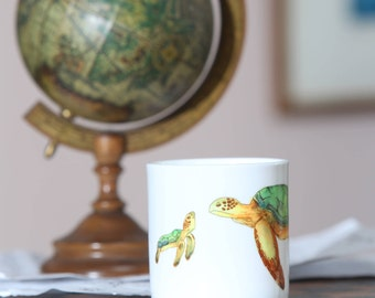 Beautiful china mug with original turtle and baby turtle design