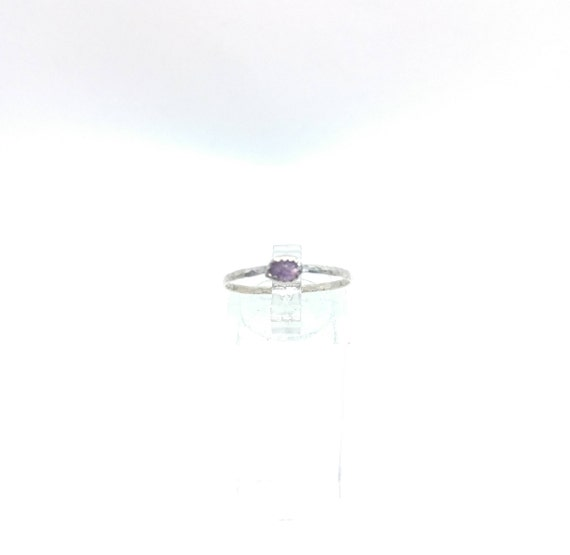 Purple Sapphire Stacking Ring   Sterling Silver Ring Sz 8.5   Raw Sapphire Ring   Raw Crystal Stackable Ring   Purple Sapphire Stacker Ring