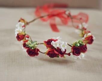 THE ROSY - Red Rose Christmas Crown Wreath Woodland Rustic Circlet Bride Winter Wedding Romantic Elegant Flower Girl Valentines Wreath Gift