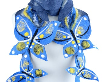 Butterfly scarf for women made of blue merino wool & silk muslin, outstanding ethereal nuno felt scarf with fancy and romantic design [S21]