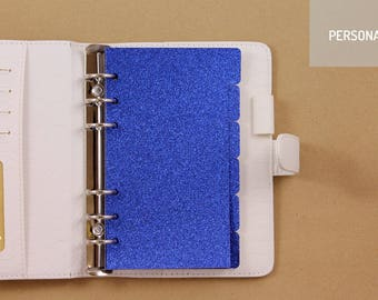 Dividers for Personal planner, set of 6 glittered dividers blue, dividers for planner with 6 rings
