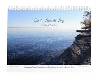 Earth, Sea, & Sky - 2018 Monthly Calendar / Wall Art / Featuring Images of 4 Seasons in Northern NY / Fine Art Photography