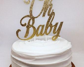 Oh Baby Gold Glitter Cake Topper for Baby Shower