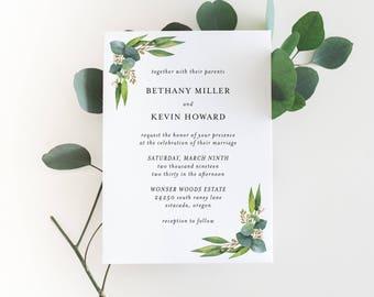 Printable Wedding Invitation Suite   Silver Dollar Eucalyptus Wedding Invitations   Botanical Invitations   Floral Invitations   WI-050