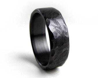 Black Wedding Band, Hammered Ring, Zirconium Ring, Black Engagement Band, Men's Black Ring, Women's Black Ring, Handmade Ring