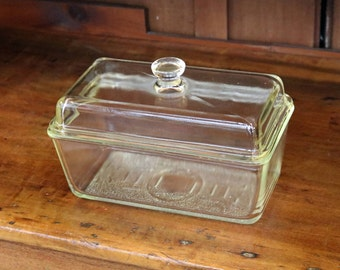 "Glasbake Clear Glass Refrigerator Loaf/Bread Pan + Domed Lid ~ 9"" x 5"" x 3.5"" ~ Westinghouse ~ Kitchen Storage ~ 1930s-50s ~ Mid Century"