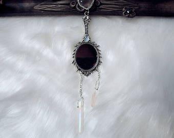 Mirror Pendant, Rainbow Moonstone Neckalce, Aura Quartz Necklace, Witch Necklace, Crystal Point Necklace