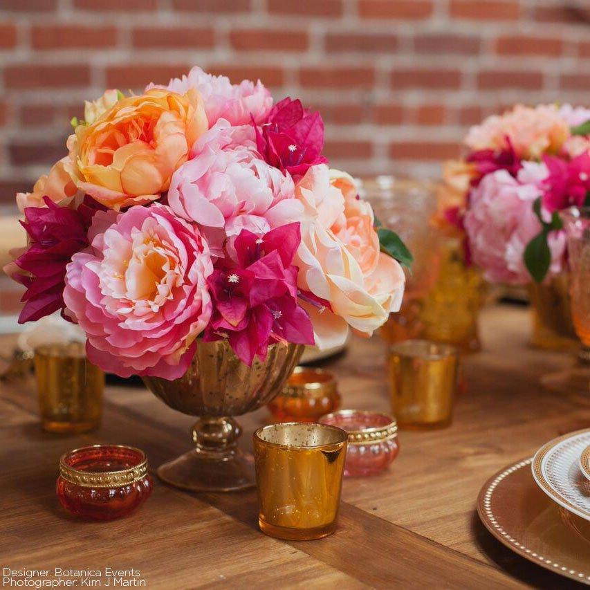 Gold Mercury Glass Vase Centerpieces Vases Floral Flower Vase