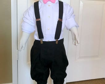 Black Boy's vintage style suspenders and knickers with bow tie and optional flat hat for infants, toddlers and young boys.