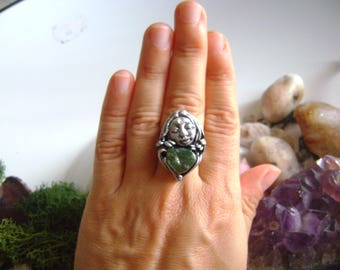 Goddes Dea ring,Goddes ring,moon ring,gemstone ring,fantasy ring,hearth goddes ring,spirit earth ring,polymer clay