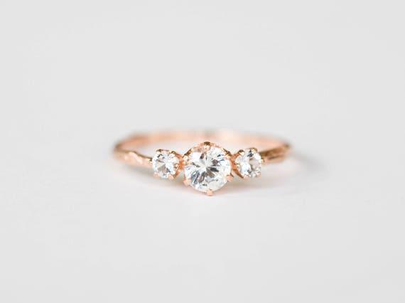 Three stone white sapphire 14k gold twig engagement ring, three stone engagement ring, gold twig ring