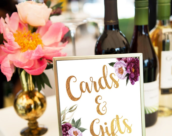 Cards and Gifts Sign // Gift Table Sign // Bridal // Printed // Baby Shower // Floral // Burgundy // 8x10 // 5x7 // FLORENCE COLLECTION