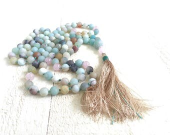Mala for Calming, Amazonite Mala Beads, Knotted 108 Bead Mala, Rose Quartz & Amazonite Mala, Yoga Meditation Beads, Tassel Mala Beads