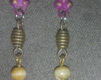 Purple metal/ bronze beads