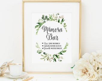 Greenery Mimosa Bar Sign Printable Bridal Shower Mimosa Sign Drink Sign Cocktail Sign Foliage Baby Shower Decoration Green Leaves 276