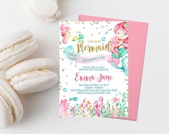 ANY AGE Mermaid Birthday Party Invitation Printable Mermaid Birthday Invite Pink and Teal Mermaid Invitation Girl Birthday Party Gold 280