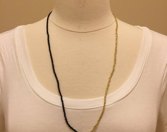 Half n' Half Black and Gold Beaded Necklace