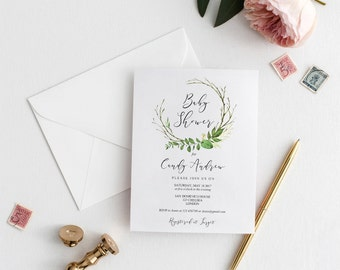 Baby shower template etsy baby shower invitation template greenery baby shower invitation printable leafs shower invitation editable stopboris Choice Image