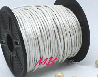 2mm Spool of Metallic Pearl Silver White Indian Leather, 5 Yard Spool of Genuine Leather, 15 feet Round Leather for Jewelry Making