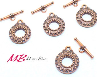 High Quality Large Bali Antique Copper Plated Toggle Clasps, 27mm 2 Sets