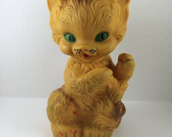 Vintage Beige Rubber Cat Squeaky Toy Soviet