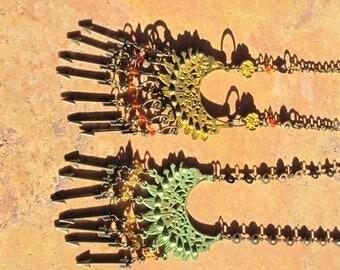 Bohemian Patina Pendant sun dial necklace