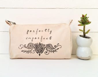 Custom Bridesmaid Makeup Bag, Personalized Bridesmaid Cosmetic Bag, Custom Canvas Pouch, Custom Zipper Pouch, Perfectly Imperfect