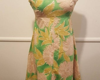 1960s Beautiful Green Flower A-line Dress Small