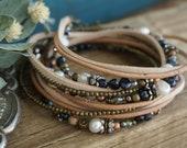 "Bohemian Earthy ""Day to Night"" Leather 3x Wrap Bracelet /Anklet /Necklace, Boho Rustic Gypsy Crystal Multistrand Women's Jewelry ByLEXY"