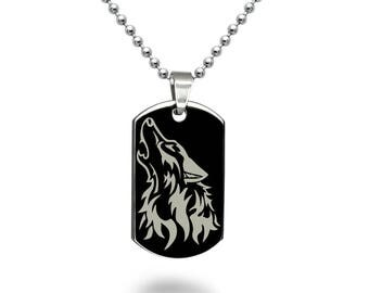 Wolf Jewelry, Personalized Engrave Stainless Steel Dog Tag Necklace with Wolf Design, Black Dog Tag Necklace SSN518