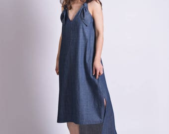 Denim Dress, Women Dress, Asymmetric Dress, Blue Maxi Dress, Plus Size Maxi Dress, Sleeveless Dress, Women Kaftan Dress, V Neck Dress