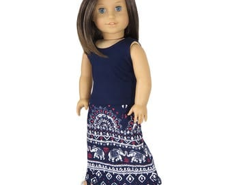 Fits Like American Girl Doll Clothes.  Navy Tribal Elephant Maxi Skirt and Tank Top.