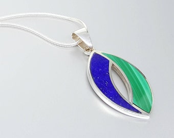 Beautiful pendant with Lapis Lazuli and Malachite with Sterling silver - inlay work - blue and green - gift idea Christmas - natural stone