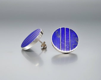 Big Lapis Lazuli stud earrings with geometrical design and inlay work Sterling silver - gift idea Christmas - round earrings - statement