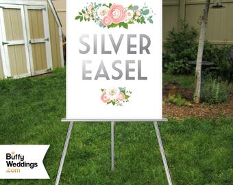 SILVER Easel . Large Wedding Sign Floor Stand Displays up to 30 x 40in Wood Sign Chalkboard Foam Board Canvas Frame No Glass . Hand Painted