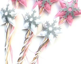 Winter wonderland snowflake wand favors - 6 pack Pink and White- Winter Wonderland party favors - Pink Winter Wonderland Party