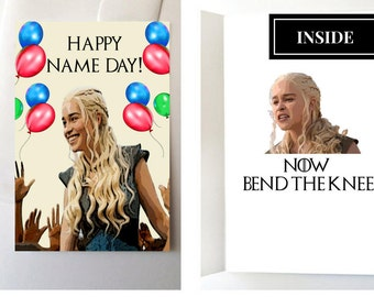 BEND THE KNEE Funny Card, Game of Thrones Birthday Card, Daenerys Targaryen Card, Game of Thrones Card,Birthday Card,Khaleesi Card, GoT Gift