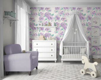 Layla Floral // Violet Wallpaper, Peel 'n Stick or Traditional PrePasted