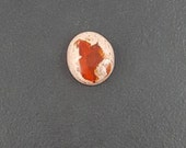 Mexican Fire Opal Cabochon, 14x16mm, round, mexico opal, mgsupply, red opal stone, cabochon, cab, opal, round opal, large opal, mexican opal