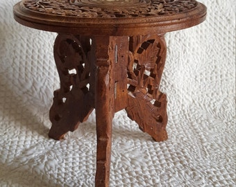 Vintage Hand Carved 2 Piece Indian Rosewood Table with Bone Inlay