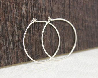 Hoop earrings, sterling silver medium one inch hammered hoops, minimalist jewelry, thin round earrings, handmade gifts for her under 30