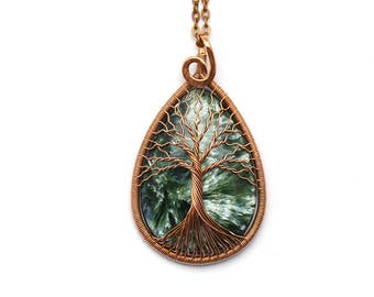 Seraphinite-necklace Copper-jewelry Tree-of-Life necklace pendant Wire wrapped copper necklace pendant  Protection necklace Gift-for-women