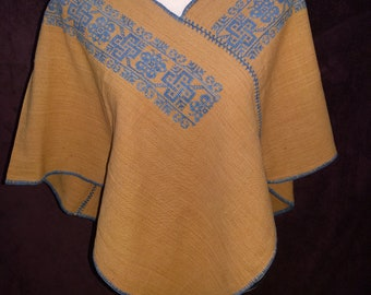 Handmade Brown Womens Poncho with Blue Hand Done Embroidery