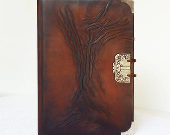 Leather Journal A5, Diary, Writing Journal Brown Notebook, Christmas Gift, Men, Boyfriend, Brother, Bucket List, Tree of Life, Leather Art