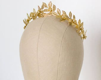 Greek Goddess Leaf Crown, Wedding Leaf Headband, Bridal hairpiece, Wedding Headpiece, Leaf Branch, Brass Leaf Headband, Gold Leaf Crown