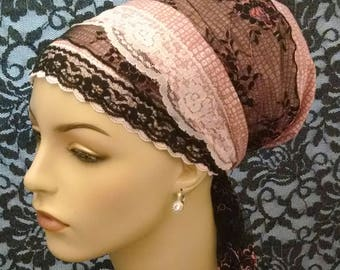 Cotton and lace dressy sinar tichel, tichels, head scarves, chemo scarves, head wraps, hair snoods
