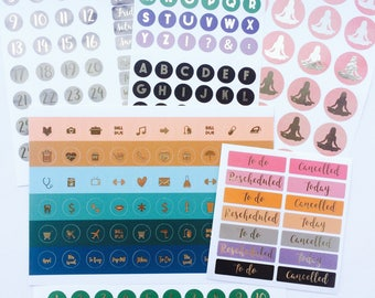 Gold Foil Sticker Kit,Foil Sticker Set, Foil Sticker Kit,Foil Sticker Set, Foil Planner Sticker, Foil Icon Stickers, Foil Sticker Collection