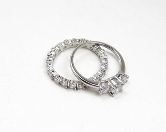 wedding ring set ladies size 9 vintage 925 silver jewelry eternity band cz