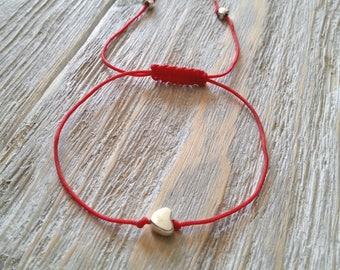 Tiny silver heart charm bracelet, Red nylon string bracelet, Macrame bracelet, Friendship bracelet, Dainty bracelet, Minimalist bracelet
